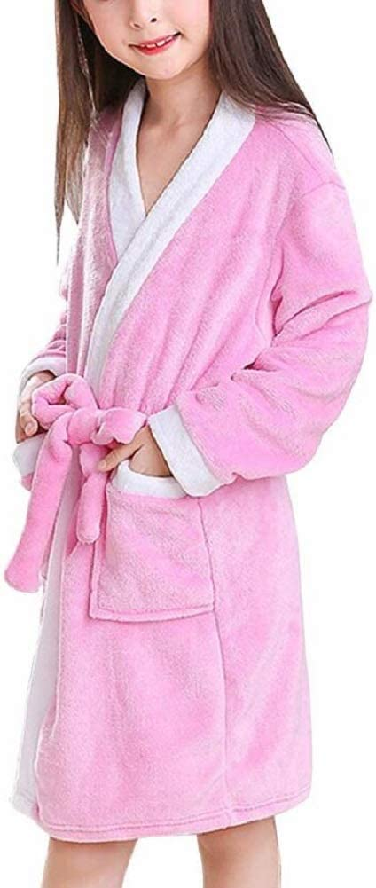 FZC-YM Albornoces de Felpa Suave y c/álida para ni/ños Pijamas Ropa de Dormir Bata de casa