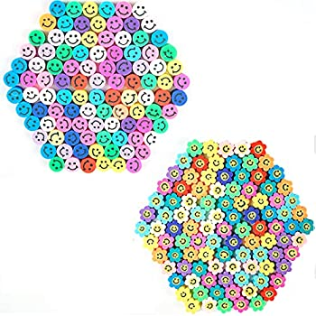 200 Pcs Sun Flower Smiley Face Beads,Round Shape Happy Face Spacer Beads,for DIY Jewelry Bracelet Earring Necklace Craft Making Supplies