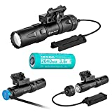 OLIGHT Odin Mini Compact MLok Mount Tactical Flashlight, 1250 Lumens, Rechargeable 18500 Battery with Magnetic Charging Cable and Remote Pressure Switch (Black)