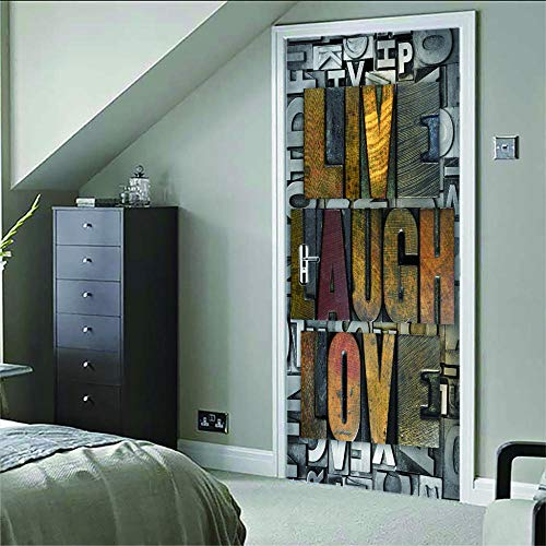 Murales Para Puertas 3D Letras Creativas Pvc Adhesivo Vinilos Puerta Pegatina Pared Murales Para Cocina Sala De Baño Decorativos