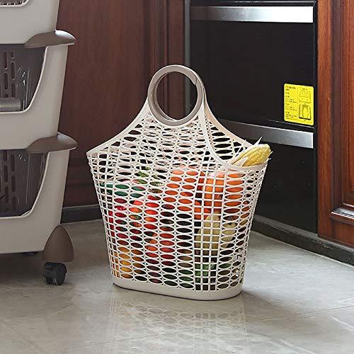 PPuujia Kleiner mittelgroßer und großer Kunststoff-Einkaufskorb für Obst und Gemüse, tragbar, 40,5 x 44 x 16,5 cm
