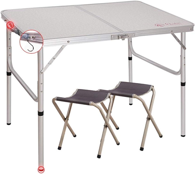 SHWSM 90×60×70cm-Rectangue-Super Tough, Folding with Handle, Aluminum Folding Table with Folding Stool Folding Table (Size   B)