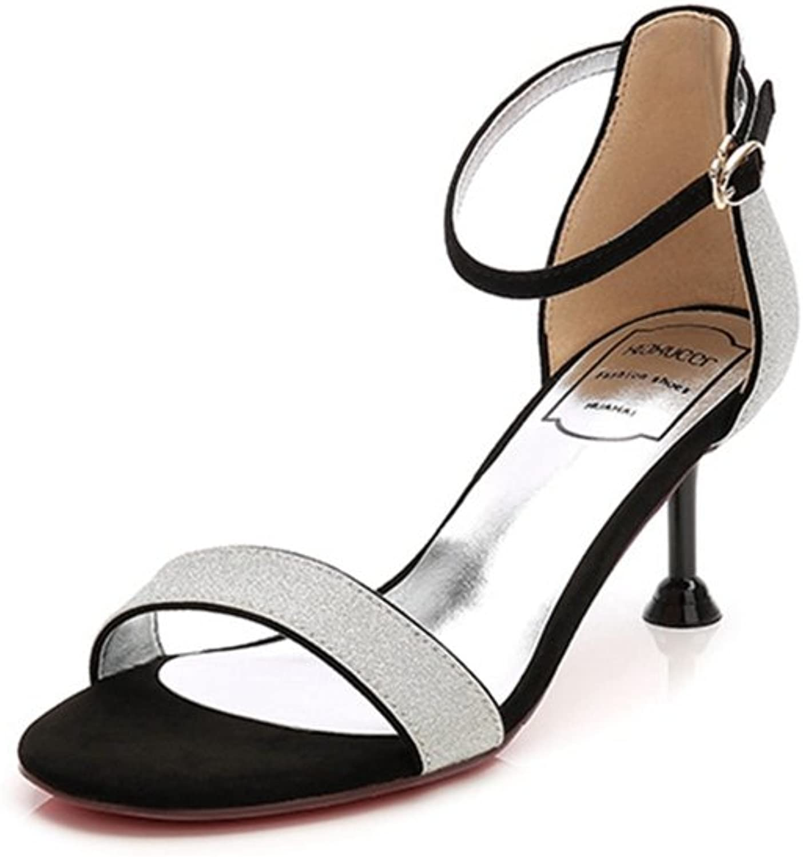T-JULY Womens Ladies Fashion Platform Sparkle Glitter Sequins Open Toe Pumps Stilettos Heel Ankle Strap Slip on Slides