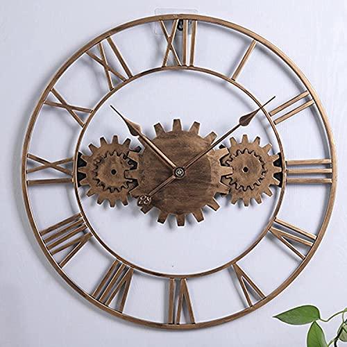 Roman Retro Gear Reloj De Pared Grande Redondo De Metal Silencioso Sin Tictac Funciona Con Pilas 58cm Reloj De Pared Industrial Grande Para Sala De Estar, Dormitorio, DecoracióN De...