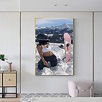 スノーボードを持つハンサムな女の子キャンバスアートポスターキャンバス壁画画像印刷絵画ホームオフィス装飾ギフト