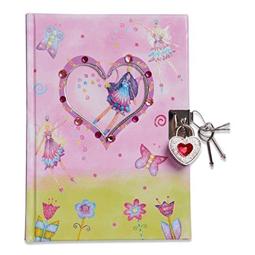 Lucy Locket Diario fatato (set scrittura, carta per lettere, diario segreto con lucchetto e chiavi) Diario rosa glitterato per bambini