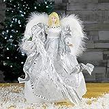 The Christmas Workshop 83960 - Puntale Tradizionale per Albero di Natale, a Forma di Angelo, 30 cm, Argento