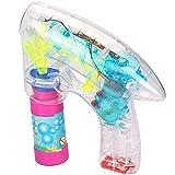 com-four Pistola de Burbujas de Jabón con luz LED y Agua Jabonosa - Máquina de Pompas de Jabón Transparente para Niños y Adultos (01 Piezas - con 60 ml de Agua jabonosa)
