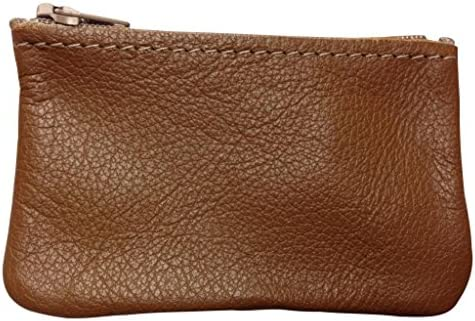 North Star Mens Leather Zippered Coin Pouch Change Holder 4 X 2.5 X 0.25 Inches, Distressed Brown