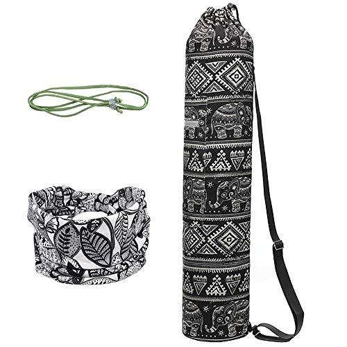 WANYIG Bolsa Esterilla de Yoga Lona Yoga Mat Bag Bolsas para Colchoneta de Yoga con Cuerda y Cinta para el Pelo Estampada para Gimnasio(Color 6)