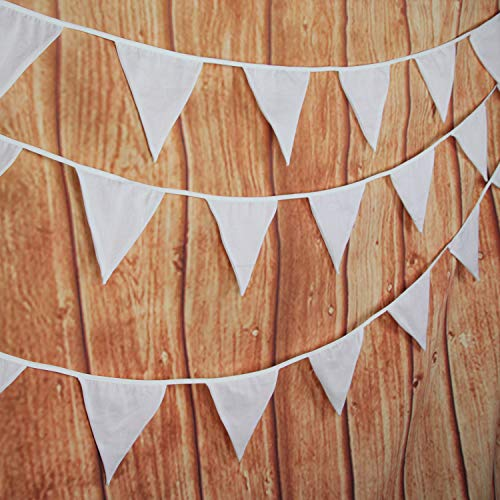 INFEI Solid White Double Layer Cotton Fabric Flags Bunting Banner Garlands for Wedding, Birthday Party, Outdoor & Home Decoration (10M/32Ft)