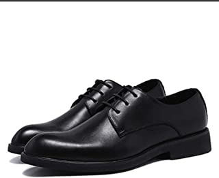 Bin Zhang Business Oxford for Men Formal Dress Shoes Lace Up Block Heel Pointed Toe Non-Slip Solid Color Classic Microfiber Leather (Color : Black, Size : 9 UK)