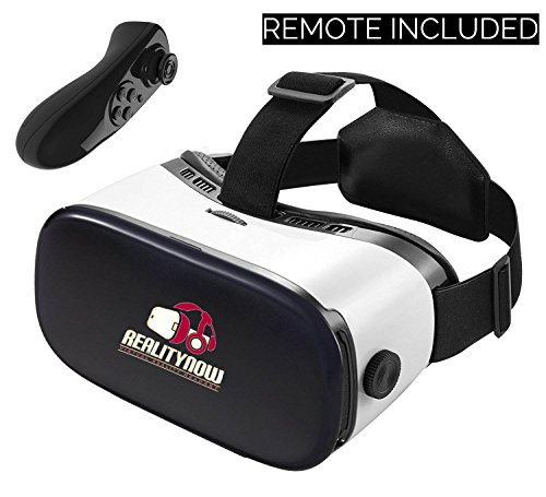 Virtual Reality Headset, RealityNow 3D Glasses VR Googles for Games and Video, Fits iPhone 7 Plus/6s Samsung Galaxy Series Other Phone and Tablet + Bluetooth Remote (Black)
