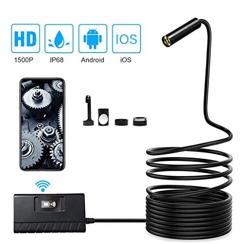 XBRMMM 3,0 Megapixel Autofokus WiFi-Endoskop, 14,2 mm 1500P HD 4LED Wireless-Inspektionskamera IP68 wasserdichte Schlangenkamera, Tele-Endoskop für Smartphone Android IOS