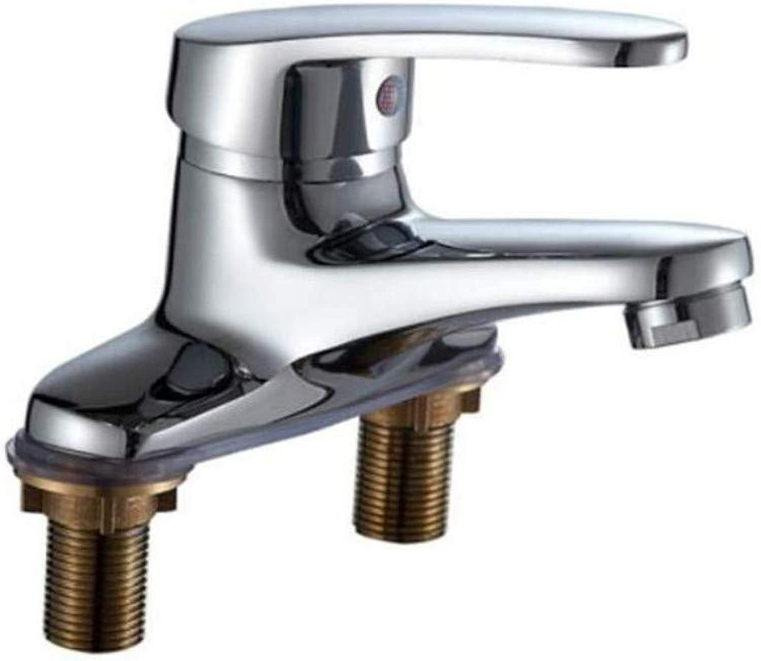 Chrome-Plated Vintage Brass Sink Mixer Tap Sanitary Basin Faucet Cold and Hot Washbasin Faucet Double-Hole Face Basin Cold and Hot Water Faucet