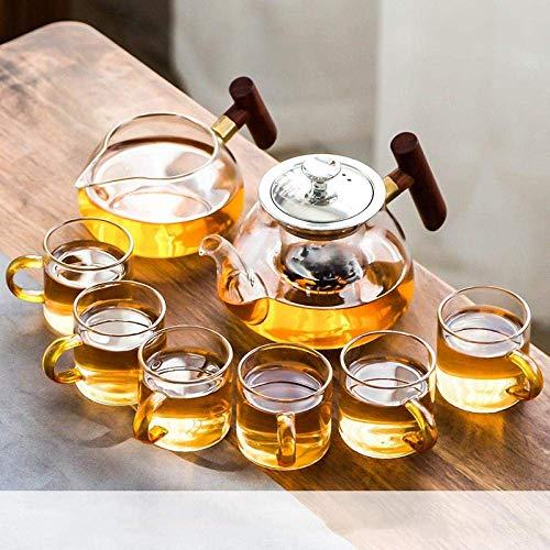 Gossttui Juego de té de Kung Fu de Vidrio Resistente al Calor, hogar, Simple, Moderno, Filtro de Tetera, Tetera, Taza, Mango Transparente, Juego de 7 Piezas Bajun (Color : 8-Piece Wooden Handle Set)
