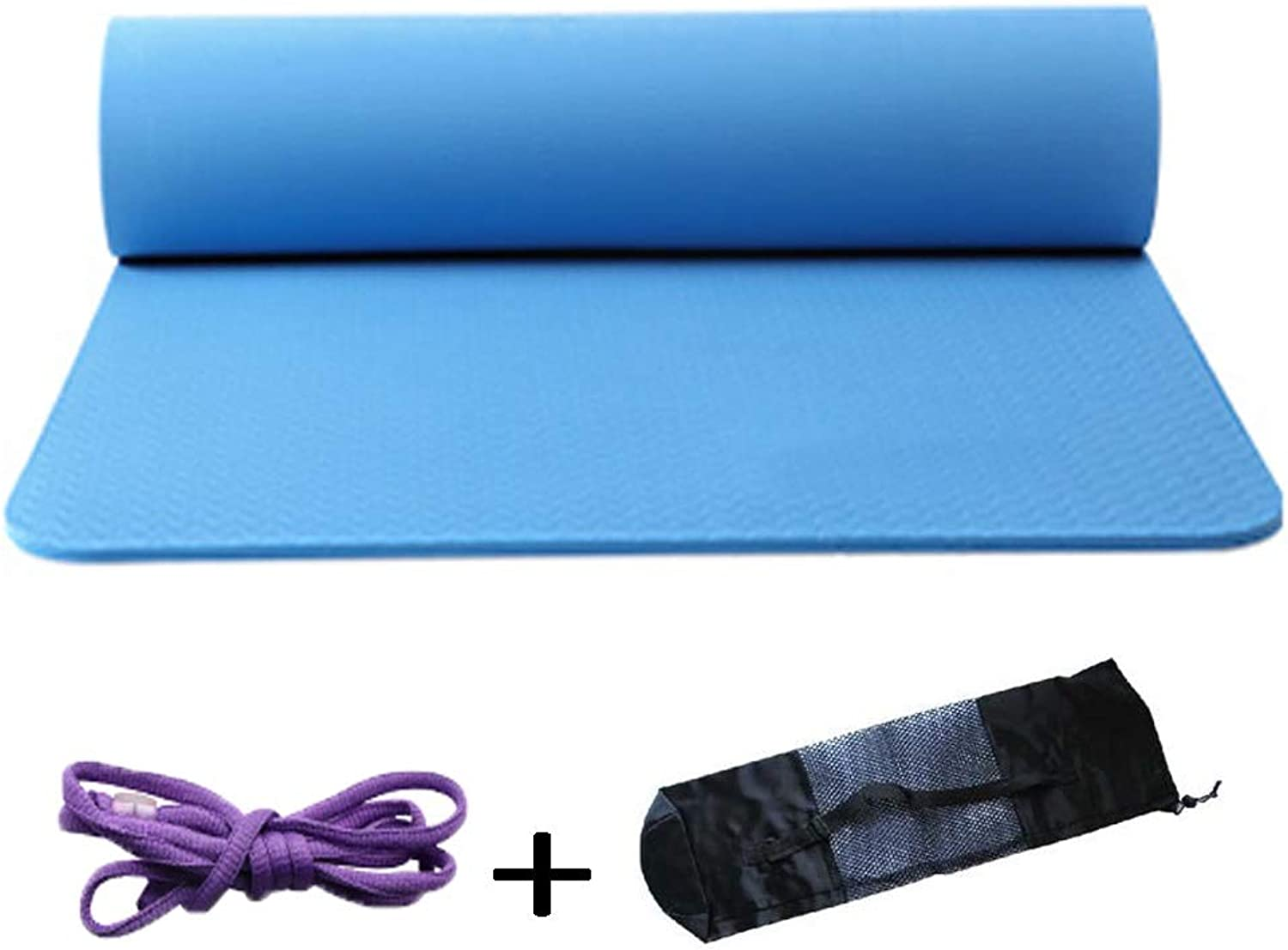 Pilates Yoga mat TPE Widened and Extended Tear Resistance Yoga Mat Beginners Male and Female Fitness Pad 6 Mm 183  61 cm 6 colors Outdoor Indoor Yoga mat (color   bluee)
