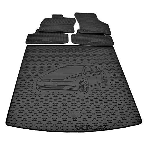 Car Lux DUO06085 - Alfombra Protector Cubre Maletero y Alfombrillas de Goma a Medida para VW Golf VII 7 Variant Desde 2013-