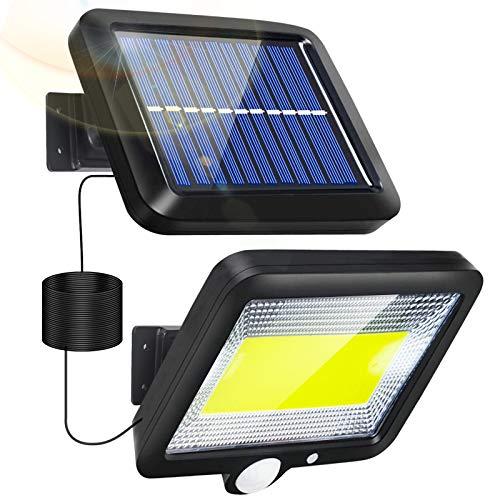 Solarlampen für Außen, LED Aussen Solarleuchten mit Bewegungsmelder COB IP65 Wasserdichte 3 Modi Solar Aussenleuchte Außenwandleuchte Solar Strahler Licht mit 16.5ft Kabel für Garten Wand