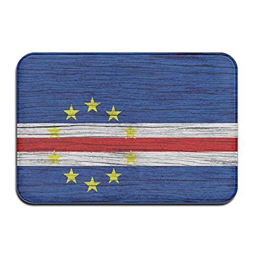 N\A Lustige Fußmatten für Innen-Außen-Eingangsgarage Patio stark frequentierte Bereiche Fußmatten, Flagge von Kap Verde Holz Textur Badteppich rutschfest