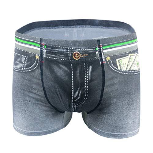 HEETEY Herren Sexy Unterwäsche Imitation Denim Unterwäsche Bequeme atmungsaktive Unterwäsche Boxershorts Men Herren Unterwäsche Unterhosen Männer Retroshorts