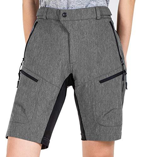 Cycorld MTB Shorts Damen MTB Hose, Atmungsaktiv Radhose Damen Outdoor Bike Shorts mit Verstellbaren Klettverschlüssen (Dark Grey, L)