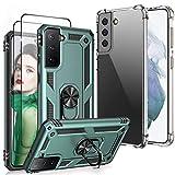 DIMIYER Funda Tough Armor compatible con Samsung Galaxy S21 + 2 protectores de pantalla de cristal templado + silicona TPU transparente, funda para teléfono móvil Samsung S21