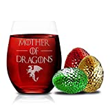 Game Of Thrones Wine Glasses - Mother of Dragons - Novelty Drinking Games - Stemless Wine Glass 15...