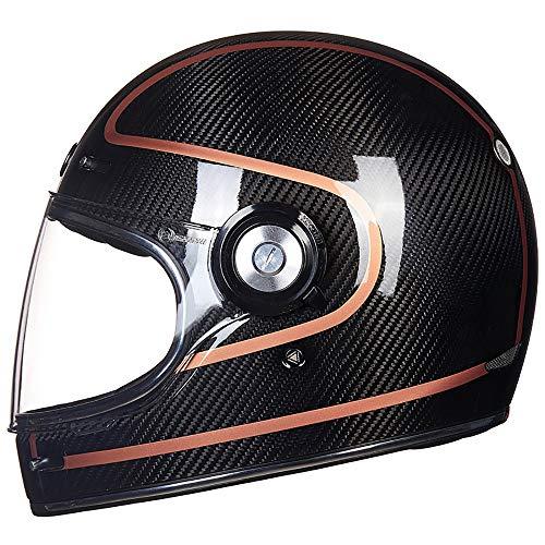 QXFJ Casco Moto,Casco Integral Cascos modulares CertificacióN Dot/ECE Casco Motocicleta Retro Casco Motocicleta Casco Fibra Carbono Casco Carreras con Cubierta Completa Temporadas