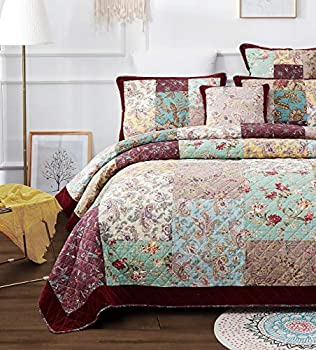 DaDa Bedding Bohemian Patchwork Bedspread - Bordeaux Cotton Burgundy Wine Velvety Trim - Old World Vintage Floral Roses Paisley - Bright Vibrant Multi-Colorful Quilted Set - Cal King - 3-Pieces