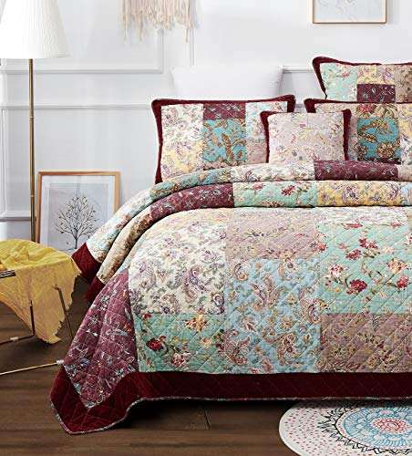 DaDa Bedding Bohemian Patchwork Bedspread - Cotton Burgundy Wine Velvety Trim - Vintage Floral Roses Paisley - Bright Vibrant Multi-Colorful Quilted Set - Queen - 3-Pieces