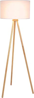 Jago® Lampadaire Trépied - CEE: A++ à E, LED, en Bois, Taille 145 cm, Ø45cm, E27 max. 60 W, Abat-Jour Blanc, Style Moderne, Scandinave - Luminaire, Lampe sur Pied pour Salon