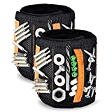 Magnetic Wristband 2 Pack BNBIDEN DIY Helper Magnetic Tool Wristband with 15 Strong Magnets 2 Pockets to Hold the Screws, Nails, Bolts, Tools Organizers Holsters Gifts for Men Electrician Handyman