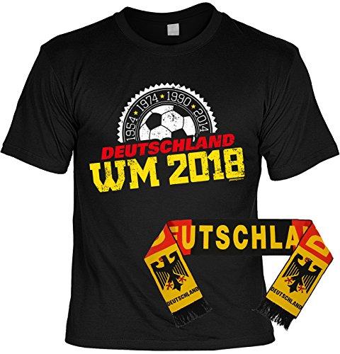 Fußball Fan Set, T-Shirt mit Deutschland Schal, Fanartikel, Trikot - 1954 1974 1990 2014 - Deutschland WM 2018