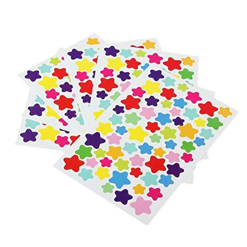BLOUR 1 Paquete = 6 Hojas de Pegatinas de Etiqueta de Estrella de corazón de Puntos Frescos Coloridos Pegatinas de decoración de teléfono