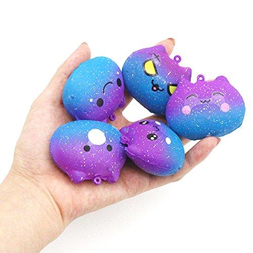 MARIJEE Squishies Galaxy Kitty - Juguete sensorial para aliviar el estrés, diseño de dibujos animados, color crema