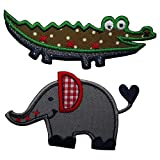 TrickyBoo 4 Aufbügler Patches Krokodil 9x3 Elefant 6x4 Eule 8x5 Schmetterling 10x7