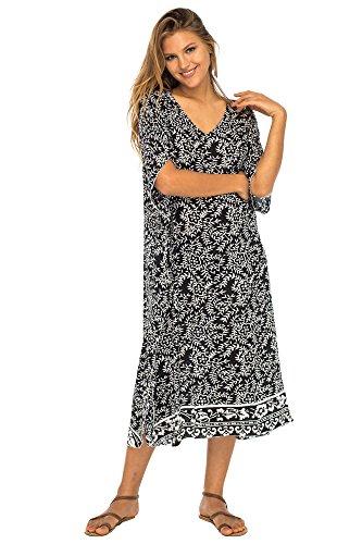 Back From Bali Womens Loose Maxi Beach Dress Cover Up Long Poncho Bun Black