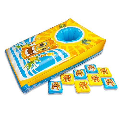 Coconut Float Island Toss Floating Cornhole Game Inflatable 9 Piece Outdoor Toy – Durable Long-Lasting Family Entertainment - 3 Foot – Perfect for Parties, Tropical Events – Ages 8+ Years
