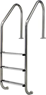 Swimming Pools Handrails Ladder with Non-Slip Footstep, 304 Stainless Steel 3-Step Safety Railing in Ground Pool
