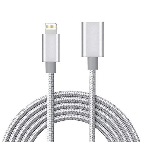 MeloAudio 3.3ft geflochtene Verlängerung Kabel Lade Verlängerung Extender Dock, männlich zu Buchse, Sync KabelAnschluss kompatibel iOS 9.2-13 oder neuere Geräte (Silber)