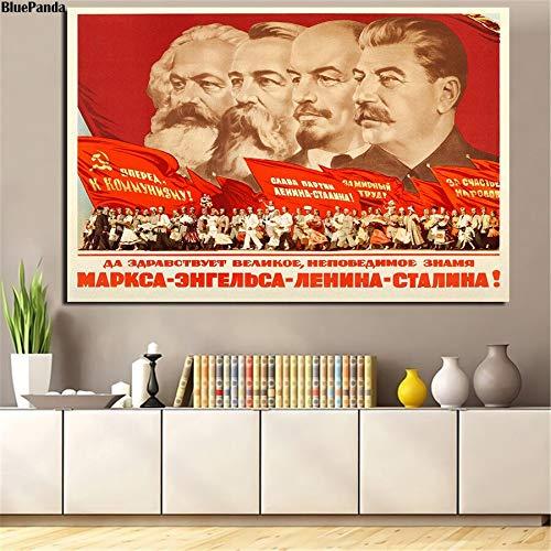 Poster Kommunismus Propaganda Poster Marx Friedrich Engels Lenin Stalin Leinwand Malerei Poster Wandkunst Bild für Wohnzimmer Dekor 50x70cm