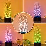 Yooce Pineapple 3D LED Table Lamp Night Light Optical Visual Illusion Home Decor Lighting