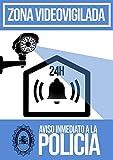 Cartel PVC rigido alarma disuasoria color azul Apto para uso exterior. Diseño carteleria disuasoria para alarmas, cámaras de vigilancia. Evitar robos con cartel antes de entrar a robar