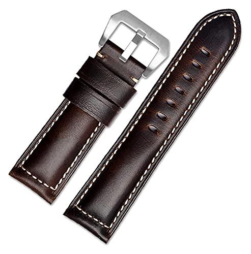 JIEERCUN Cinturino in Pelle con Cinturino da Uomo con Cinturino da Uomo con Cinturino da Uomo Cinturini per Orologi (Color : Dark Brown Silver, Size : 26mm)