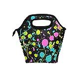 Bolsa térmica reutilizable con diseño abstracto y colorido, para el almuerzo, con cremallera, para hombres, mujeres, niños, niñas y niños