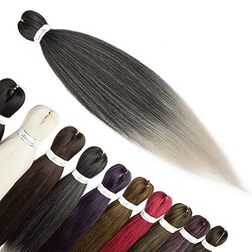66cm-Treccine Afro Extension Capelli Lunghi Braiding Hair Soffice Capelli Finti per Treccia Extension Treccine–Nero Scuro a Grigio Argento