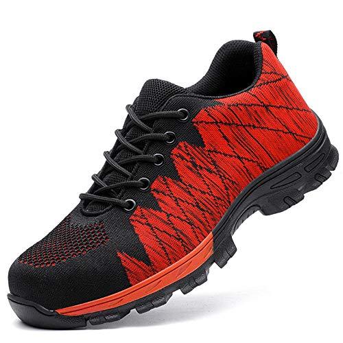 Zapatos de Seguridad Hombre Trabajo Comodos,Se Puede Utilizar en Obras de construcción, talleres industriales, cocinas y Deportes al Aire Libre, montañismo, Senderismo, etc.
