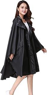 PENGFEI レインコート ポンチョ クローク 防水 日焼け止め 通気性のある 観光 漂流 ルーズ 女性、 3色 (色 : 黒, サイズ さいず : L l)