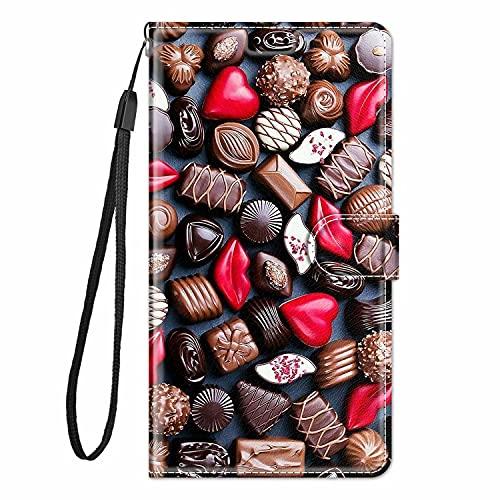 TYWZ Stijlvolle Kleurrijke Geschilderde Full Body Case voor Xiaomi Redmi Note 10 Pro,PU Lederen Portemonnee Flip Kaarthouder Kickstand Boek Stijl Magnetische Cover-Chocolade